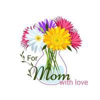 para minha mãe com amor cartão feliz dia das mães vetor