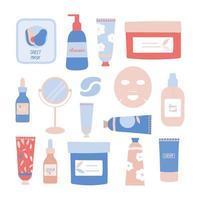 conjunto de produtos para a pele e ilustração vetorial de ferramentas vetor