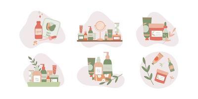 conjunto de composições com ilustração em vetor plana de produtos naturais para a pele