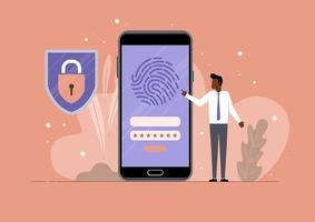 proteção de segurança de impressão digital móvel vetor