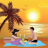 ilustração em vetor fundo romântico praia data