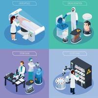 ilustração isométrica de conceito de projeto de criogenética vetor