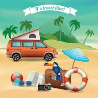 ilustração em vetor cartaz férias realistas de verão