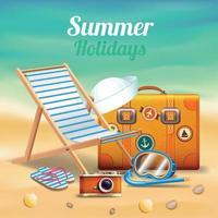 ilustração vetorial de composição realista lindas férias de verão vetor