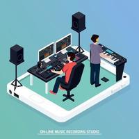 ilustração em vetor produção música composição isométrica