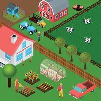 ilustração vetorial ilustração isométrica fazenda vetor