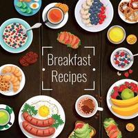 ilustração em vetor receitas de café da manhã