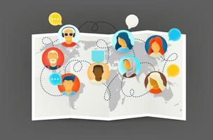 trabalho internacional via conexão com a internet vetor