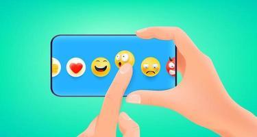 homem segurando smartphone e escolhendo emoji vetor