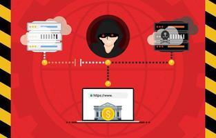hacker dns sequestrar conceito de site de comunicação. ladrões roubam dinheiro de cartões de crédito de e-banking ou sistema de carteira online. phishing scam fraude na internet ciberataque conceito de crime eletrônico ilustração vetorial vetor