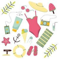 conjunto de verão, acessórios, moderno, vetorial, imagem plana, design, isolado, branco, fundo, desenho, plana vetor