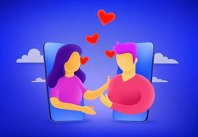 jovem homem e mulher apaixonados vetor