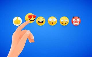 dedo pressionando a reação do emoji nas redes sociais vetor