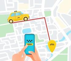 solicitando serviço de táxi no caminho vetor