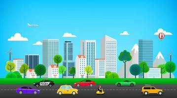 cidade moderna com trânsito rodoviário vetor