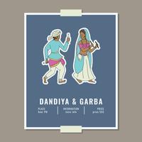 Dandiya & Garba Poster com dois dançarinos vetor