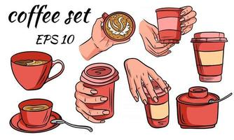 conjunto de café café para viagem e em estilo de desenho de caneca vetor