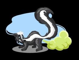 animais personagem skunk engraçado em estilo cartoon vetor