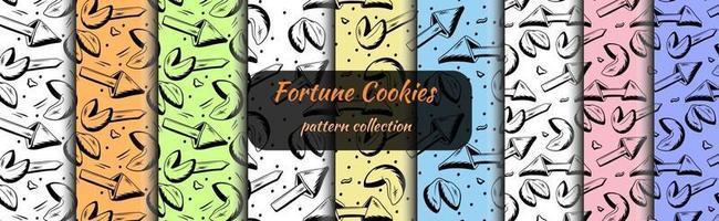 conjunto de biscoitos da sorte de padrões sem emenda desenhados em estilo de desenho vetor
