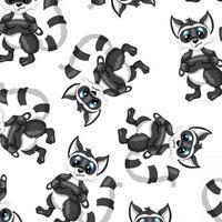 animais personagem guaxinim com padrão sem emenda de máscara de sono em estilo cartoon vetor
