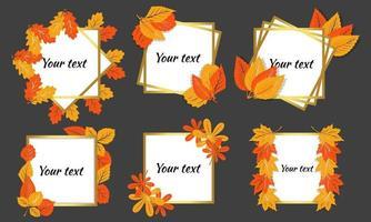 moldura para desenho de moldura de texto com folhas, você pode escrever seus próprios convites de texto estilo cartão postal de desenho animado vetor