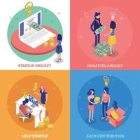 ilustração em vetor conceito de design de financiamento coletivo