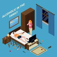 problemas familiares alcoolismo composição isométrica ilustração vetorial vetor