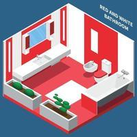 ilustração em vetor composição isométrica interior do banheiro