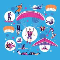conjunto de paraquedismo e paraquedismo vetor