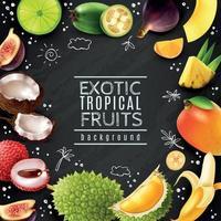 ilustração vetorial de fundo de quadro de giz de frutas tropicais vetor