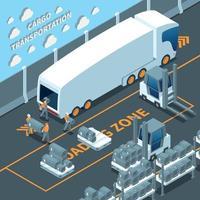 ilustração em vetor composição isométrica de caminhão elétrico moderno