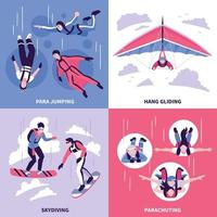 ilustração vetorial conjunto de ícones de conceito de paraquedismo vetor
