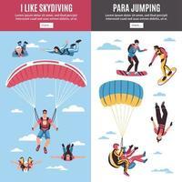 banners de paraquedismo definir ilustração vetorial vetor