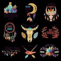 ilustração vetorial conjunto de emblemas boho vetor