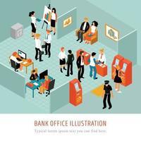 ilustração em vetor composição isomérica de escritório de banco