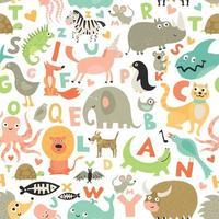 ilustração em vetor crianças alfabeto padrão sem emenda