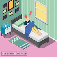 ilustração em vetor fundo isométrico perturbação do sono