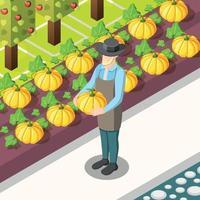 ilustração vetorial de fundo isométrico de alimentos orgânicos vetor