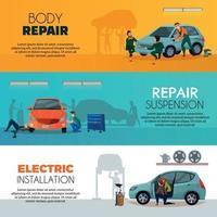 banners de serviço de carro definir ilustração vetorial vetor