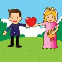 recém casado romântico vetor
