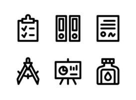 conjunto simples de ícones de linha vetorial relacionados a papelaria vetor