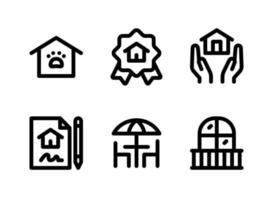 conjunto simples de ícones de linha de vetor imobiliário