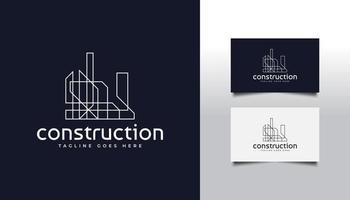 logotipo abstrato de imóveis em estilo de linha vetor