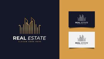 logotipo da imobiliária em gradiente dourado com estilo de linha vetor