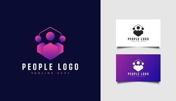 logotipo de pessoas ou comunidade ou equipe em gradiente colorido e conceito moderno vetor