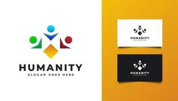logotipo da humanidade com ilustrações de pessoas em várias cores vetor