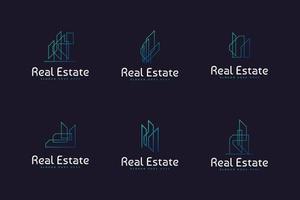 conjunto de logotipo de edifício ou construção de imóveis com estilo de linha em conceito moderno e minimalista vetor