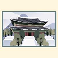 Cartão do palácio de Gyeongbokgung vetor
