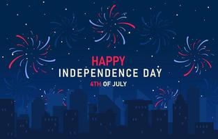 fogos de artifício no dia 4 de julho conceito do dia da independência vetor
