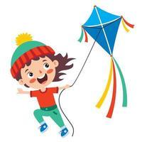 criança brincando com uma pipa colorida vetor